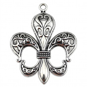 NEWME 3pcs 74x58mm big fleur de lis Charms Pendant For DIY Jewellery Making Wholesale Crafting Handmade Bracelet Necklace Key Chain Bag Accessories