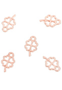 Angel Malone ® 5 x 10.5mm Designer Quality Rose Gold FOUR LEAF CLOVER Pendant Charm Jewellery Making Findings