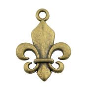 NEWME 40pcs 22x18mm fleur de lis Charms Pendant For DIY Jewellery Making Wholesale Crafting Handmade Bracelet Necklace Key Chain Bag Accessories