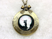 Necklace Locket,Two Cats in Love Necklace,Handmade Necklace,Bowknot Bronze Necklace,Vintage Jewellery,Fashion Necklace for Women