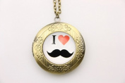 Necklace locket,I love Moustache Necklace,Beard Necklace locket,Moustache Necklace,Handmade Necklace,Bowknot Bronze Necklace,Christmas Gift,Sweater Necklace,Vintage Jewellery,Fashion Necklace for Women