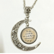 """Charm Crescent Moon Peter Pan Quote Jewellery """"To Die Would Be an Awfully Big Adventure"""", Peter Pan Necklace Peter Pan Art Pendant Jewellery"""
