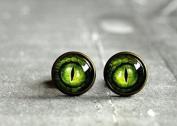 Green Dragon Eye Stud Earrings, Antique Brass Stud Ear Post Dragon Eye Jewellery,