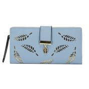 Tuopuda Women's Wallet Hollow Leaf Pattern Bifold Leather Lady Long Wallet Purse Coin Button Clutch Bag