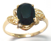 VINTAGE 9k/9ct SOLID Gold Natural SAPPHIRE & DIAMOND Ring / Size 7