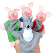 Glorrt 4PCS Three Little Pigs And Wolf Finger Puppets Hand Puppets Christmas Gifts