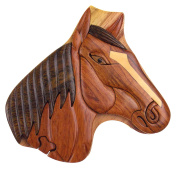Handmade Carved Horse Head Intarsia Wood Puzzle Box Bundled With Hickoryville Instructions