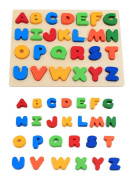 KanCai Kids Wooden ABC Uppercase Alphabet Jigsaw Puzzle Board - early learning toys