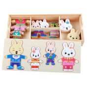 Monique Kids Children Wooden Puzzle Lovely Bear Dress up Puzzles Set Early Learning Jigsaw & Puzzles Games