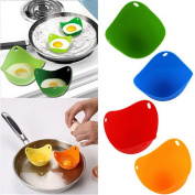 Myhouse 4pcs Egg Poacher Silicone Cooking Poached Eggs Kitchen Egg Moulds