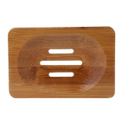 Kangnice Natural Bamboo Wooden Bathroom Shower Soap Dish Storage Holder Plate Tray
