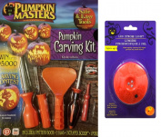 Pumpkin Masters Pumpkin Carving Kit & Flashing Led Strobe Light Bundle
