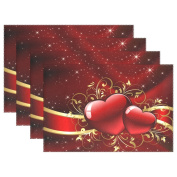 Gorgeous Valentines Day with Red Hearts Heat-resistant Table Placemats Set of 4 Stain Resistant Table Mats Washable Eat Mat Home Dinner Decorative