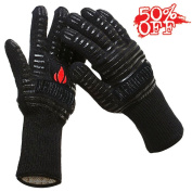 BBQ Grilling Cooking Gloves - Menhoud 932°F Extreme Heat Resistant Gloves - 1 Pair (Long) - 36cm Long For Extra Forearm Protection for Fireplace, Baking, Potholder and Oven-1