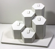 Fixture Displays White Leather Wrapped Hexagon Ring Tabletop Display 13794 13794