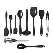 Sujonna Silicone Spatula Utensil Set Non-Stick Heat-Resistant Cooking Baking Utensils (10 pcs Set) - Black