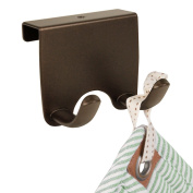 mDesign Over-the-Cabinet Kitchen Storage Double Hook for Dish Towels, Pot Holders - Bronze