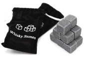 Set of 18 - Pure Soapstone Reusable Chilling Rocks for Whiskey - No Water Dilution & Perfect For Liquor, Wine and Other Beverages - With 2 Velvet Bags Included