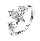 Wicemoon Pentagram Small Stars Full Diamond Valentine's Day Ring Opening Ring Adjustable