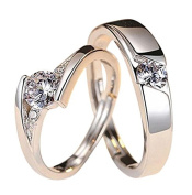 Wicemoon Open Loving Couple Ring Men and Women Tenderness Diamond Ring Wedding Birthday Valentine's Day Present