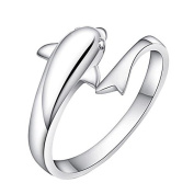 Wicemoon Silver Dolphin Shape Wrap Ring Diamond Ring Wedding Birthday Valentine's Day Present