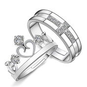 Wicemoon Crown Opening Couple Rings Men and Women Jewellery Ring Birthday Valentine's Day Present