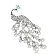 Youkara Peacock shape Brooch White Pearl Corsage Brooch Pin Brooches For Women Girls Jewellery