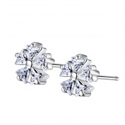 Wicemoon Fashion White Fungus Nail Five-Leaf Plum-Shaped Flashing Micro-Women Earrings Trend Earrings