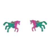Wicemoon Small Fresh Colour Pony Earrings Animal Earrings Glitter Pony Earrings