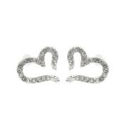 Wicemoon Diamond Heart Peach Plated Silver Earrings Studs for Women Fashion Jewellery Gift