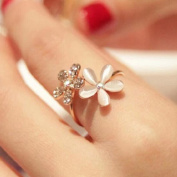 Bodhi2000 Women's Girls Cute Opal Daisy Flower Open Ring Adjustable Ring