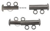2 Strand Multi Slide Clasp Gunmetal, 2 Clasps