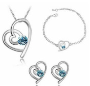 Cosanter Fashion Set Of Three Pieces Of Crystal Necklace + Earrings + Bracelet Exquisite Jewellery