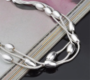 Cosanter Fashion Silver Plated Third-line Beads Bracelet Olive Beads Jewellery