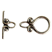 Beading Station Oriental Toggle Clasp-A, 19mm, Tibetan Silver, Set of 5