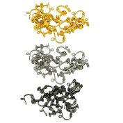 Baoblaze 36 Pieces Screw Back Earring Findings Making Craft Flat Pad Accessories