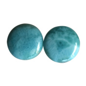 AAAA+ Grade Natural Caribbean Sea Larimar Pair Cabochon, Round Shape Stone For Earring, Dominican Republic AG-8063