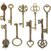 Key Charm Vintage Bronze for DIY Jewellery Making and Handmade Crafting Necklace Pendants 9Pcs
