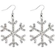 Westeng Women Girls' Stud Earrings Cute Silver Earrings Snowflake Pattern Ear Stud Sparkling Jewellery