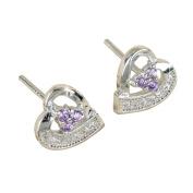 Westeng Women Girls' Stud Earrings Silver Zircon Earrings Cute Heart Pattern Ear Stud Sparkling Jewellery