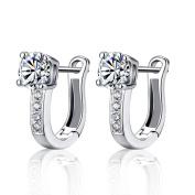 Westeng Women Girls' Stud Earrings Silver Diamond-Encrusted Earrings Cute U-Shape Shining Ear Stud Jewellery