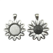 NEWME 6Pcs 18mm Round Inner Size Antique Silver Plated Perforation Sun Flower Single Side Side-On Necklace Pendant Setting Cabochon Cameo Base Tray Bezel Blank Fit Cabochons Jewellery Making Findings