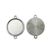 NEWME 30Pcs 20mm Round Inner Size Antique Silver Plated Classic Connector Single Side Double Hanging Cabochon Settings Blank Pendant Base Trays Diy Jewellery Bezels