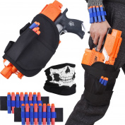 Bememo Kids Tactical Waist Bag and 2 Dart Wrister Kit with 20 Refill Darts and Skull Face Mask for Nerf Guns N-strike Elite Series