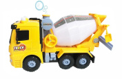 Bubble Blowing Cement Mixer Trucker Toy w/ Lights, Sounds, Funnel, & Bubbles + Battery Operated