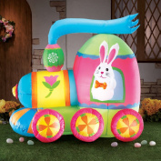 Easter Bunny Train Inflatable Yard Decoration