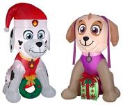 Bundle of Paw Patrol Marshall and Skye Airblown Inflatables for Christmas Holiday Decor