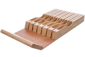In-Drawer Bamboo Knife Block Fits 13 Knives (Not Included) Knife Storage Organiser Made by Cooking Pleasures