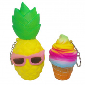 2Pcs Jumbo Squishy Slow Rising Pineapple Glasses 10cm Rainbow Ice Cream Phone Strap Charm Handbag Pendant Props Kids Toy