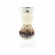 JDK Synthetic Fibre Hair Shaving Brush Set Razor Brush with Heavy Stainless Steel Base White Acrylic Handle with transparent stand